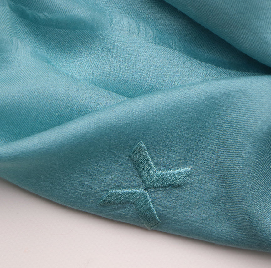 Embroidered Scarf - French Blue