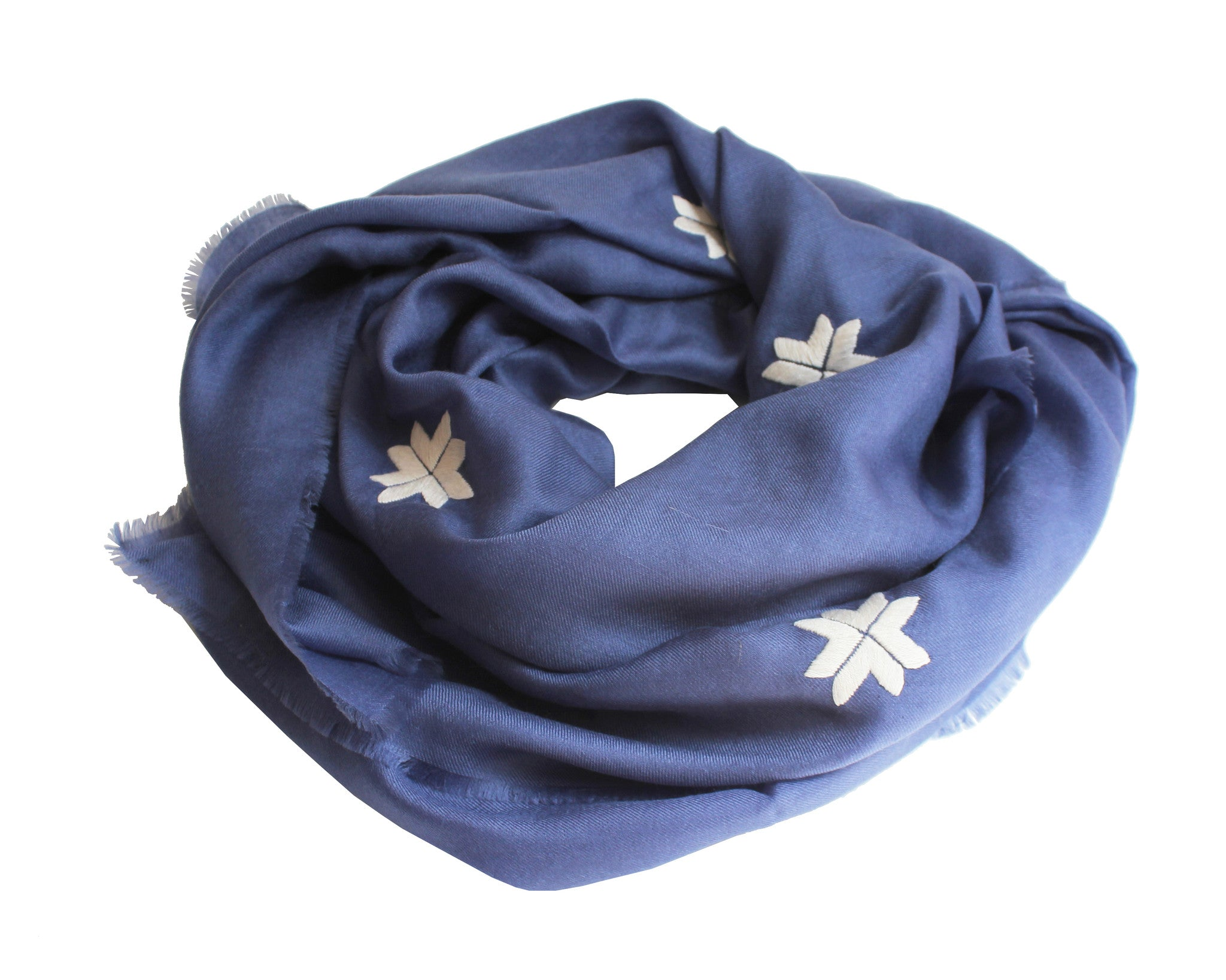 Embroidered Scarf - Iris/Ivory