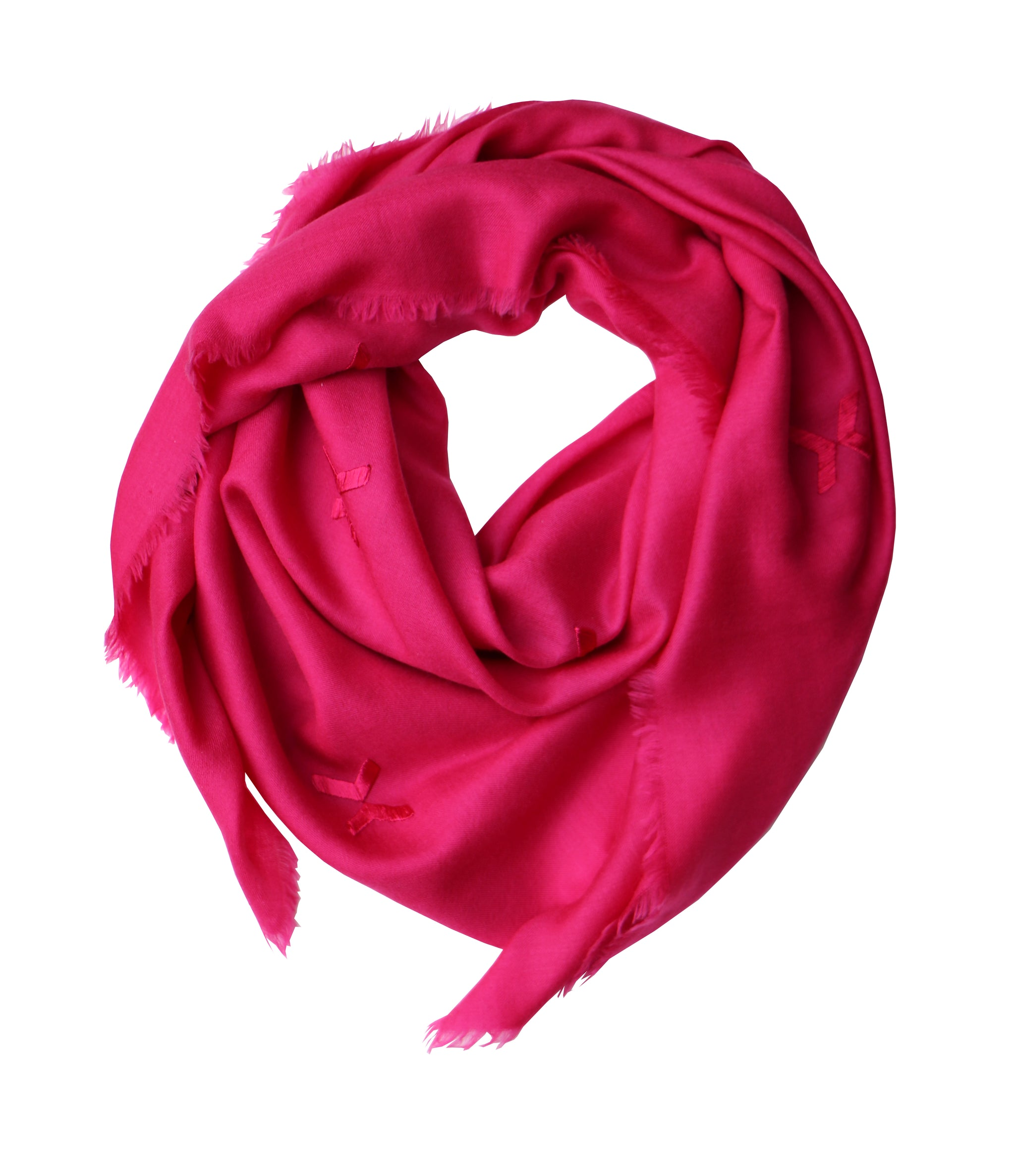 Embroidered Scarf - Magenta