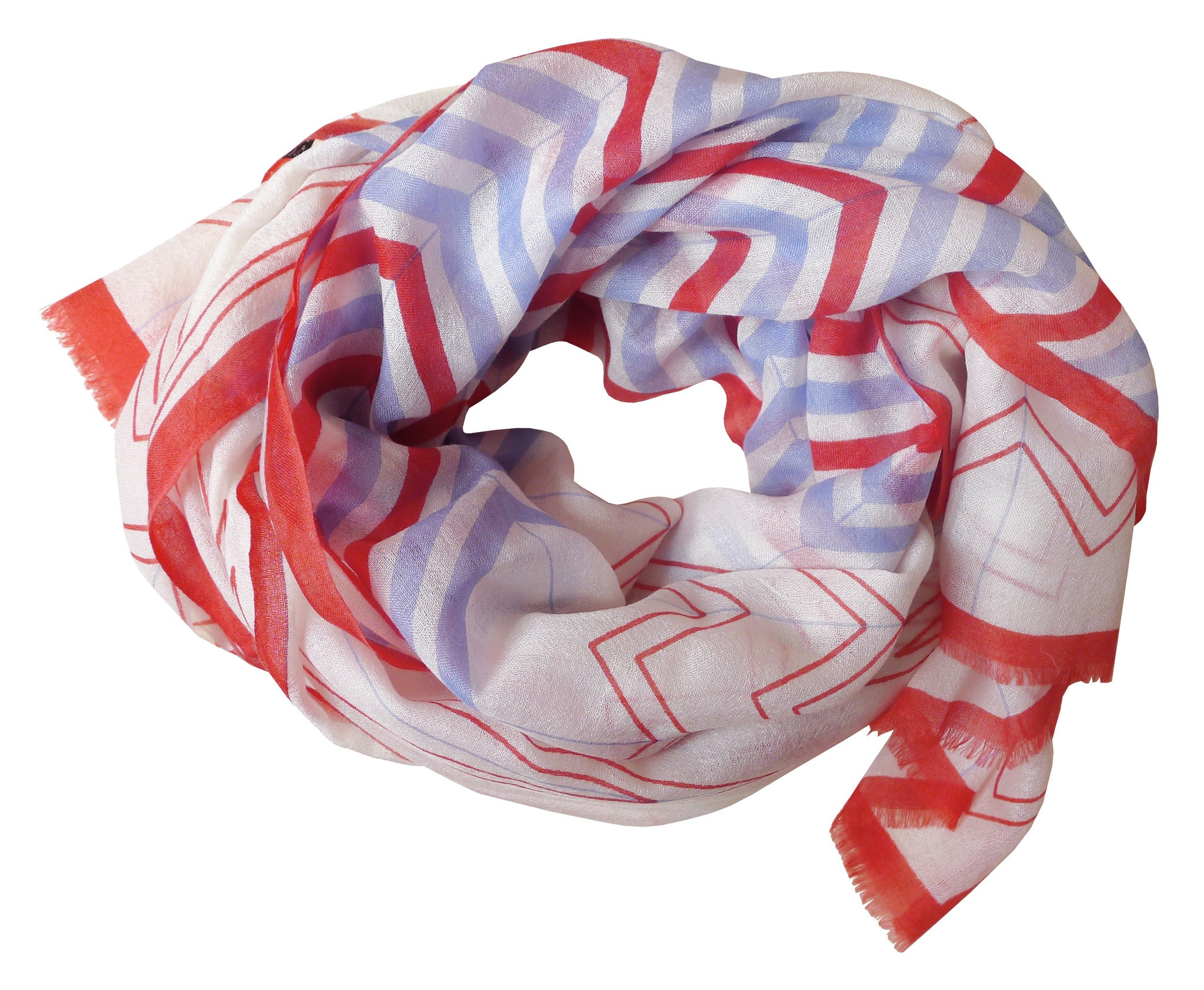 SKY Chevron Scarf - Cherry & Sky Blue