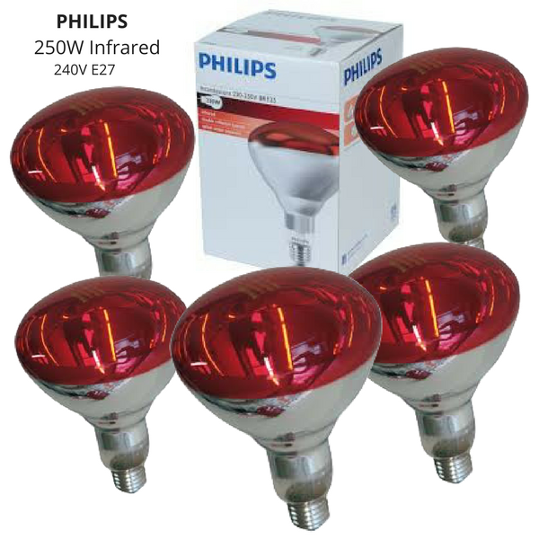5 x Heat Globe Phillips Red Lamp Infrared 250W - Redfarm Supplies - Shoof - Strzelecki Trading