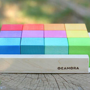 Coloured square stacking blocks