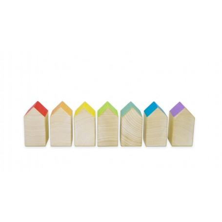 Rainbow coloured stackable houses