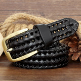 GENUINE LEATHER BRAIDED BELT