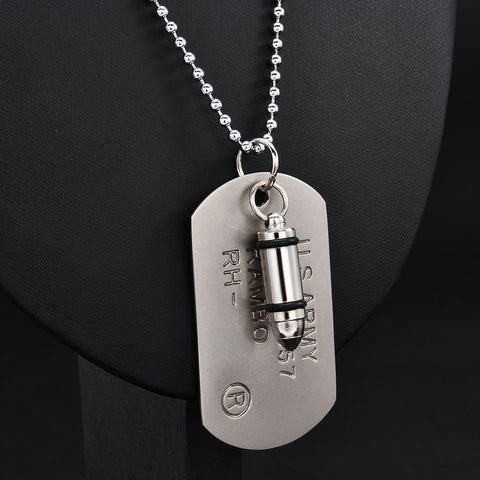 TAG NECKLACE WITH ARMY ENGRAVING
