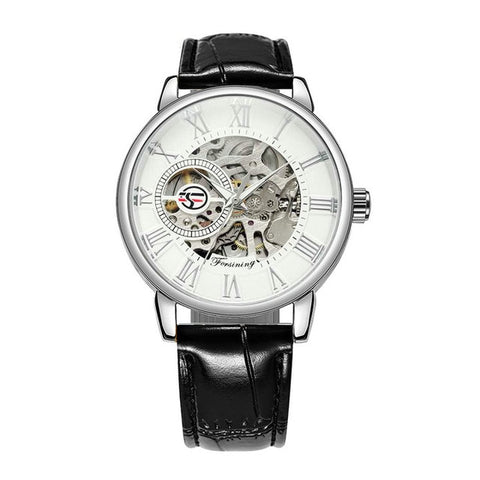 LAVISH MECHANICAL WATCH WITH 3D LOGO AND LEATHER STRAP