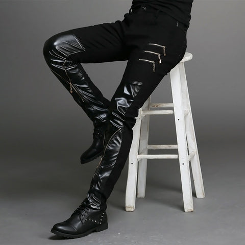 SLIM TIGHT BLACK LEATHER PANTS