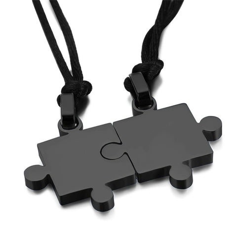 BLACK PUZZLE PIECE NECKLACE SET OF 2