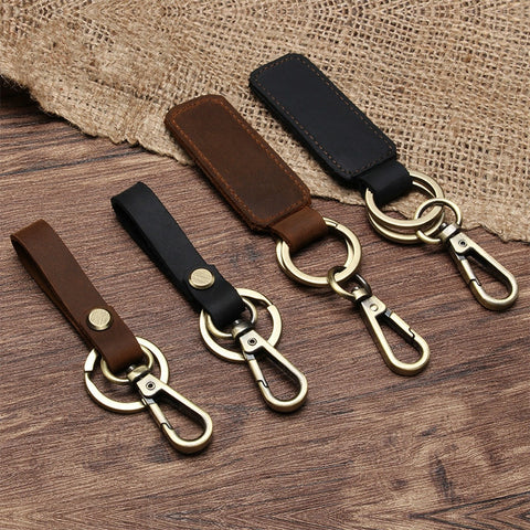 VINTAGE BROWN LEATHER KEYCHAIN