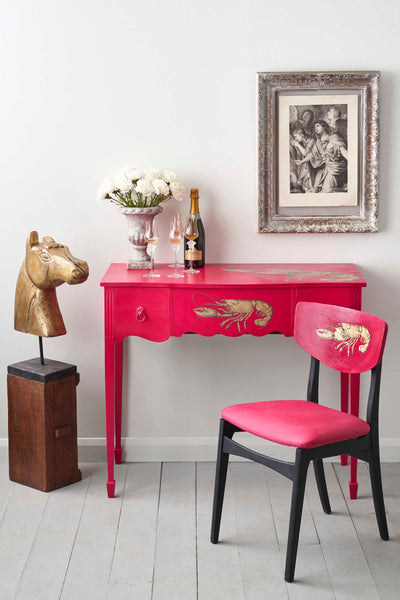 pink desk and chair upcycling paint