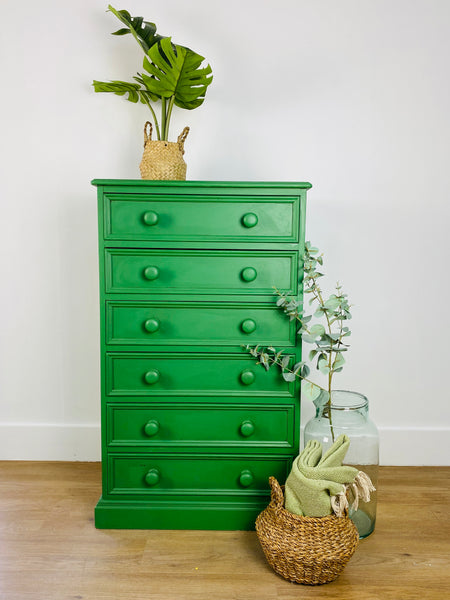 Green tall chest of drawers paint