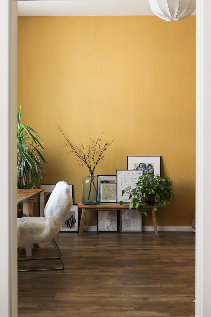 Soft yellow colored walls