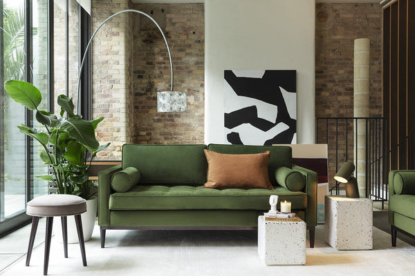 Model 02 Velvet 2 Seater Sofa - Vine