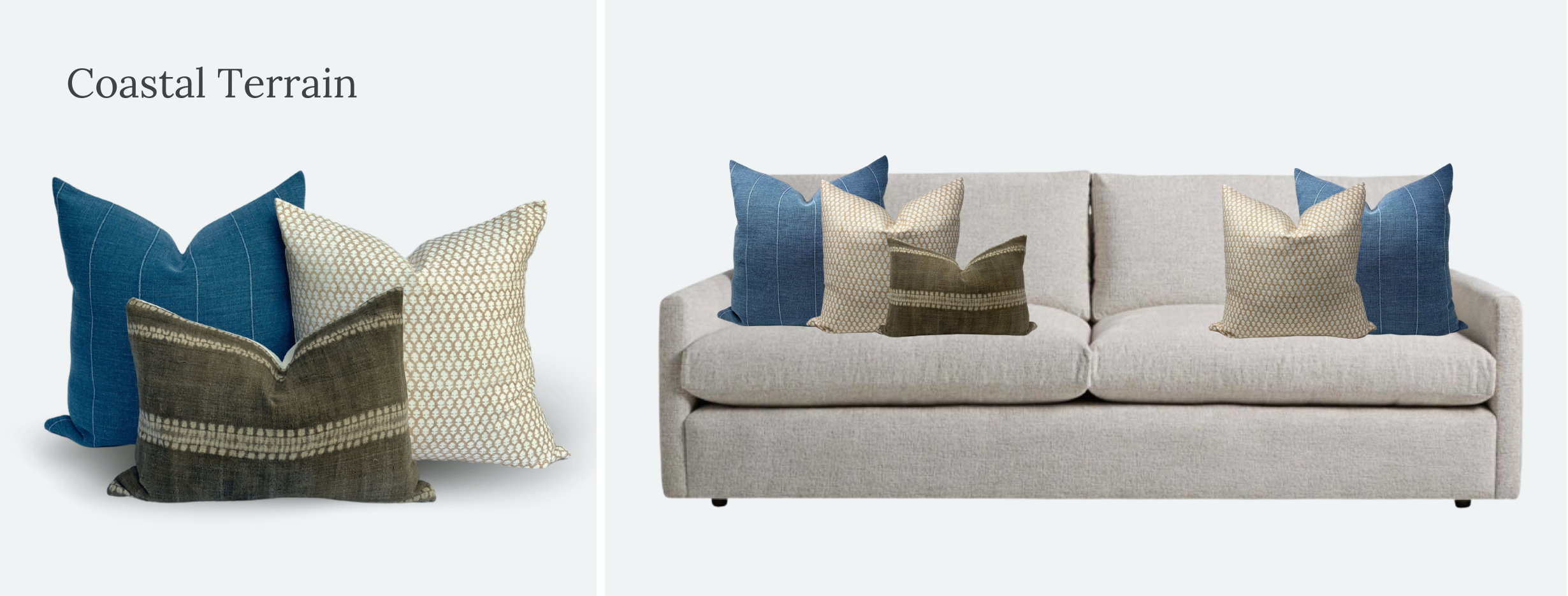 Everand throw pillow styling on Arhaus Kipton sofa