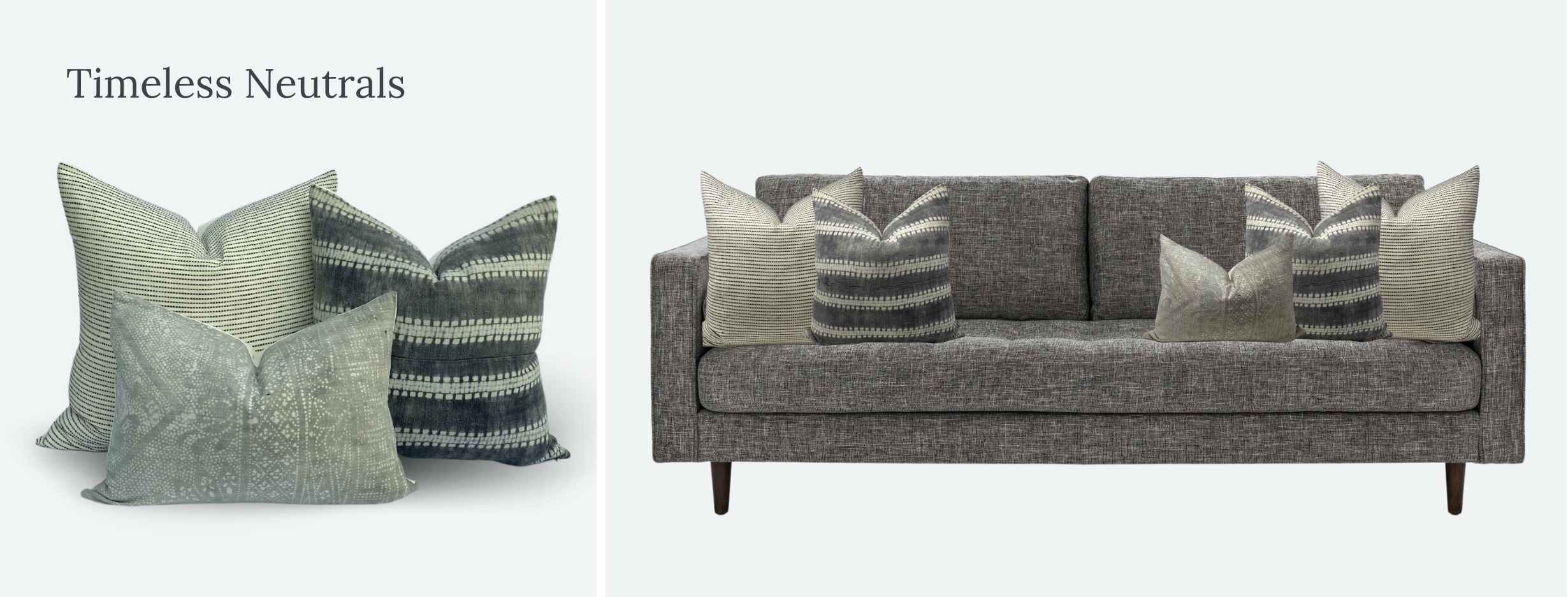 Everand throw timeless neutrals pillow styling on Article Sven sofa