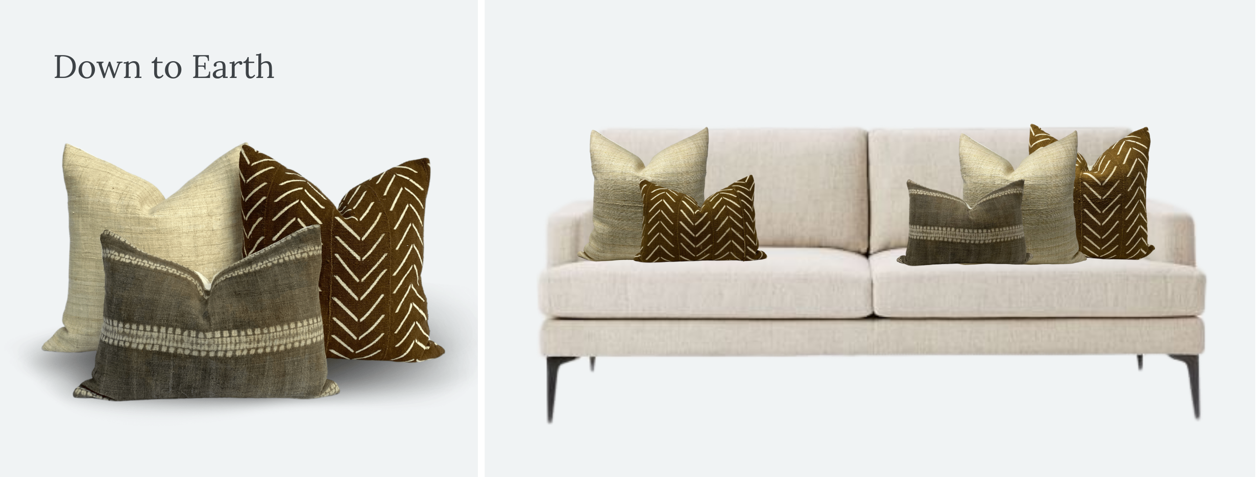 Everand Down to Earth throw pillow styling on West Elm Andes sofa