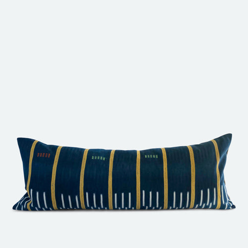 Large Lumbar Pillow Cover - Blue Baoule No.10