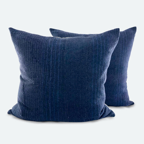 26x26 Euro Pillow Covers Set of 2 - Indigo Kantha Quilt