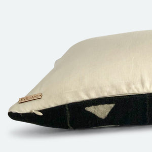 Medium Lumbar Pillow Cover - Black & White Triangle Mudcloth No.1