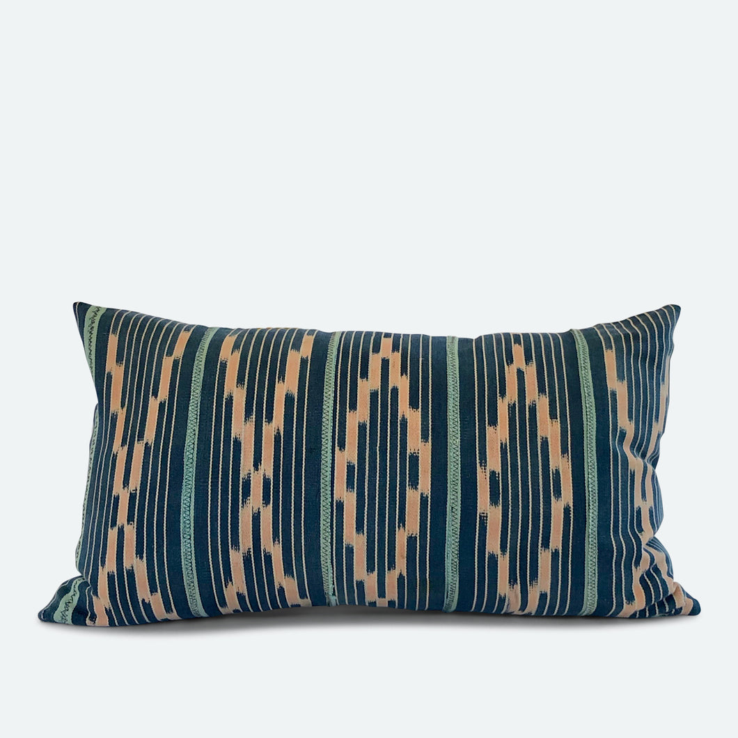 Small Lumbar Pillow Cover - Blue Baoule No.4