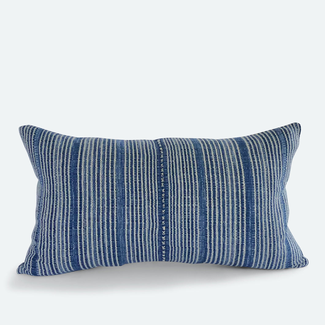 Small Lumbar Pillow Cover - Blue Karen Hmong No.1