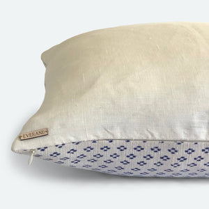 Large Lumbar Pillow Cover - Blue & White Woven No.2