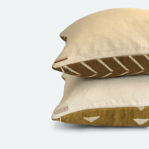 Small Lumbar Pillow Cover - Clay Arrow Mudcloth No.1