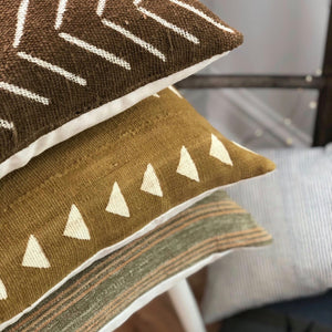 20x20 Pillow Cover - Mustard Triangle Mudcloth No.1