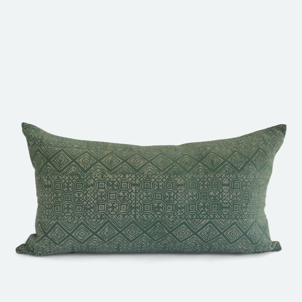 Small Lumbar Pillow Cover - Green Hemp No.1