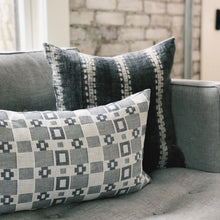 Load image into Gallery viewer, Small Lumbar Pillow Cover - Grey & White Woven No.1