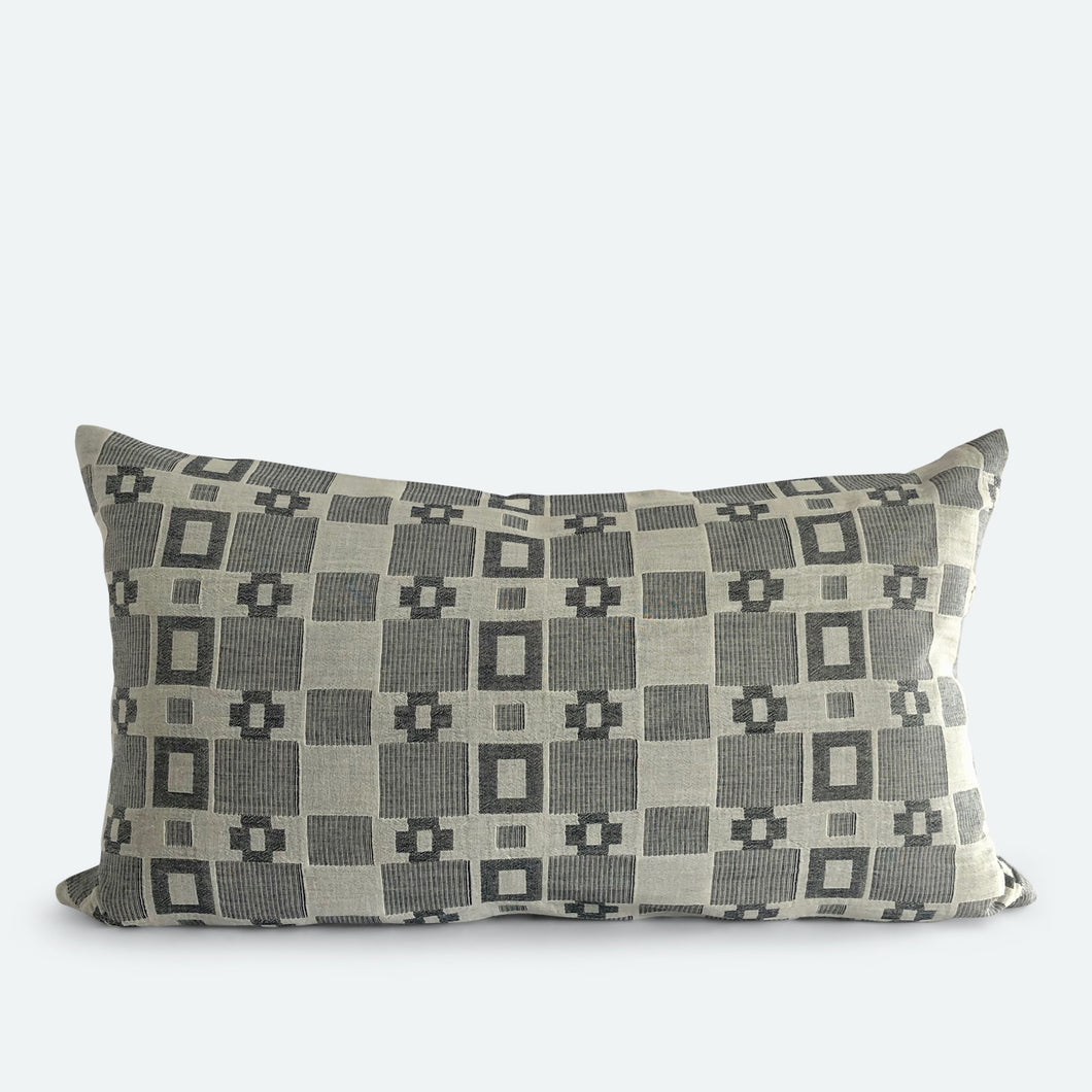 Small Lumbar Pillow Cover - Grey & White Woven No.1