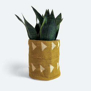 Large Pouch - Mustard Triangle Mudcloth No.1