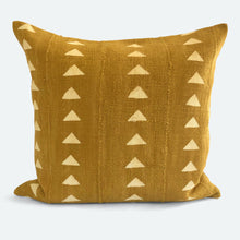 Load image into Gallery viewer, 20x20 Pillow Cover - Mustard Triangle Mudcloth No.1