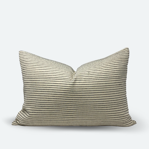 Medium Lumbar Pillow Cover - Black Woven Stripe No.1