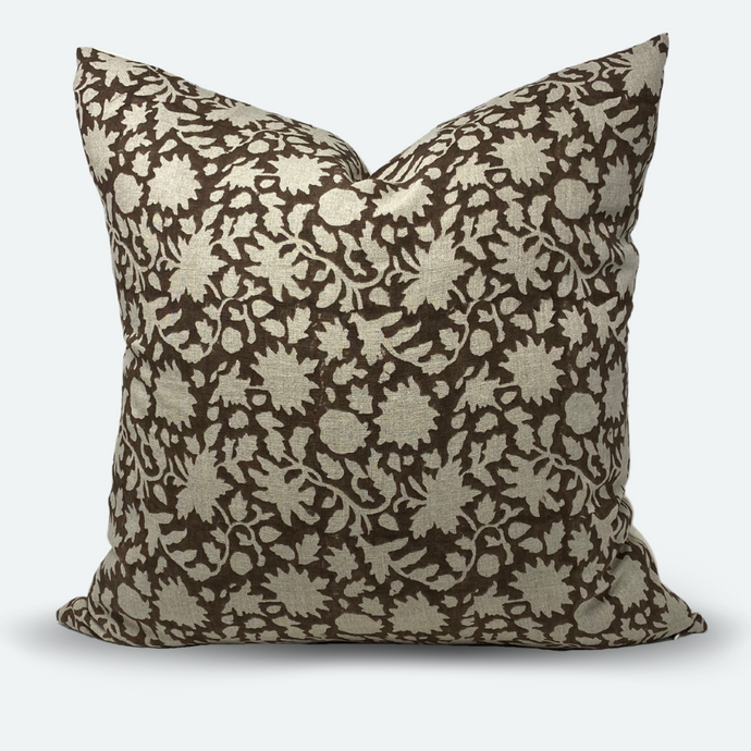 20x20 Pillow Cover - Cocoa Floral Vine Block Print