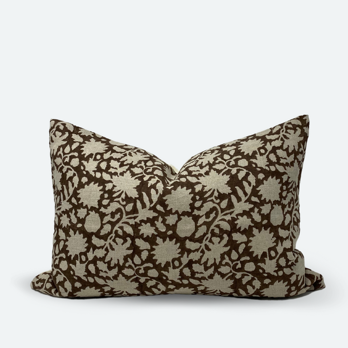 Medium Lumbar Pillow Cover - Cocoa Floral Vine Block Print
