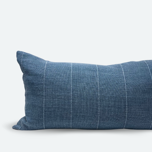 Large Lumbar Pillow Cover - Dusty Blue Stripe