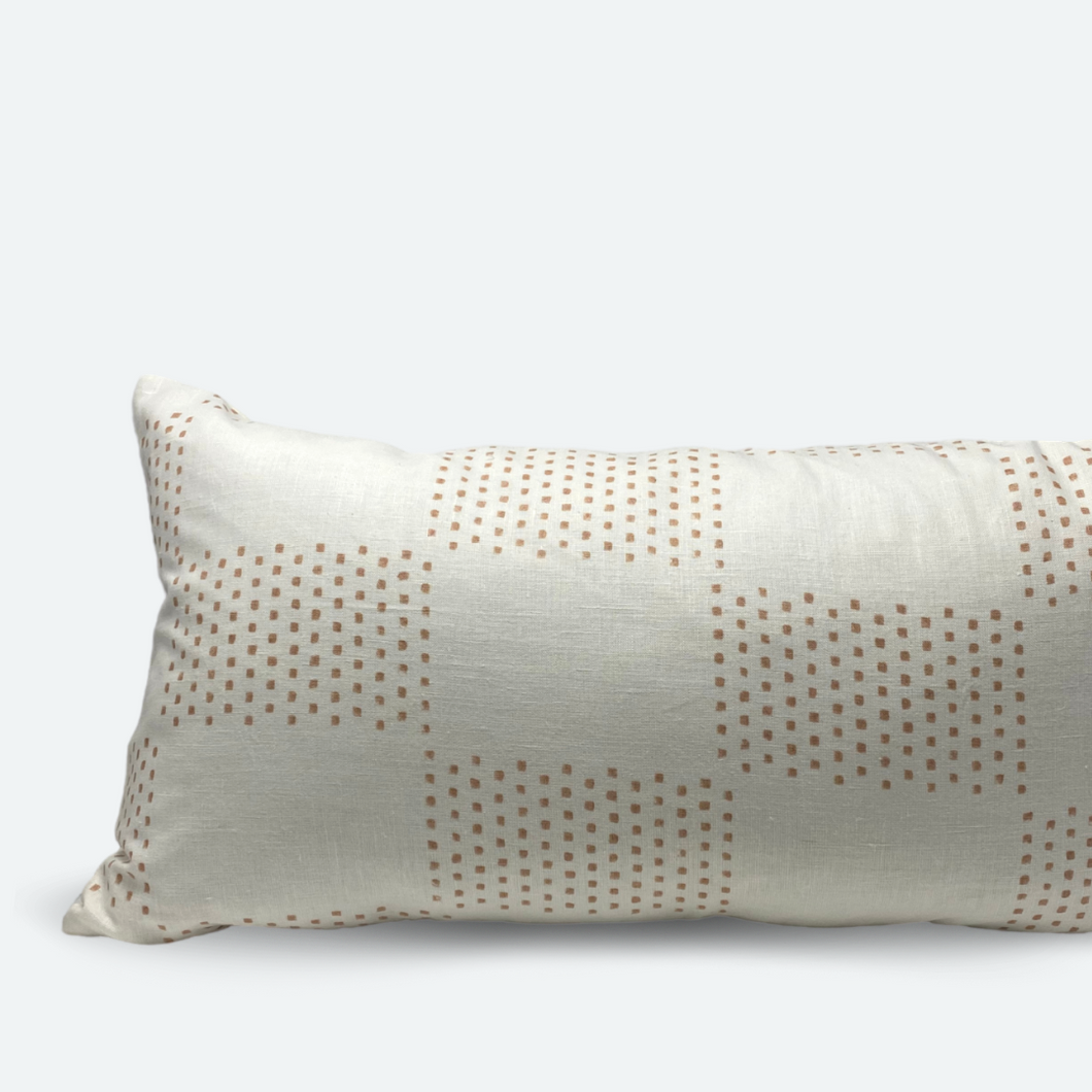 Large Lumbar Pillow Cover - Dusty Clay Checkered Block Print