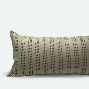 Large Lumbar Pillow Cover - Green Dot Block Print No.2