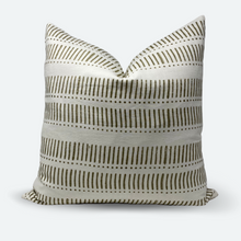 Load image into Gallery viewer, 20x20 Pillow Cover - Grey Olive Stripe & Dot Block Print