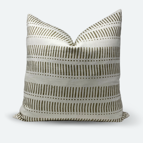 20x20 Pillow Cover - Grey Olive Stripe & Dot Block Print