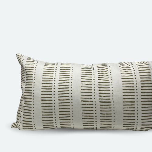 Large Lumbar Pillow Cover - Grey Olive Stripe & Dot Block Print