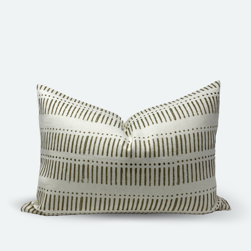 Lumbar Pillow Cover - Grey Olive Stripe & Dot Block Print