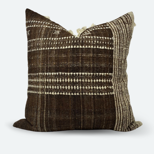 20x20 Pillow Cover - Cocoa Indian Wool Stripe