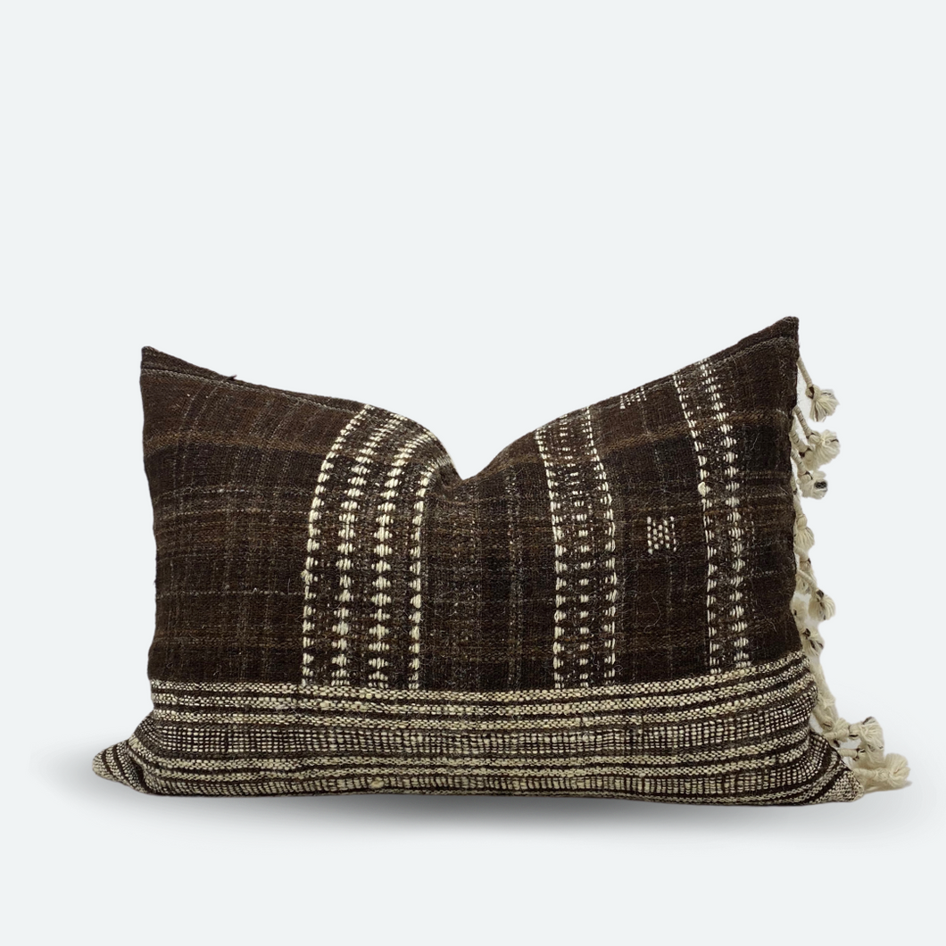 Medium Lumbar Pillow Cover - Cocoa Indian Wool Stripe