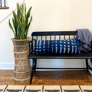 Large Lumbar Pillow Cover - Indigo Shibori No.2