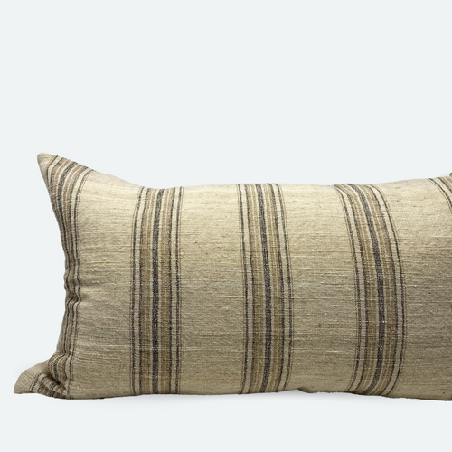 Large Lumbar Pillow Cover - Natural Terracotta Woven Stripe