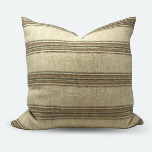 20x20 Pillow Cover - Natural Terracotta Woven Stripe