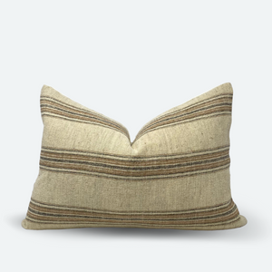 Medium Lumbar Pillow Cover - Natural Terracotta Woven Stripe
