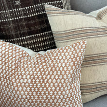 Load image into Gallery viewer, Medium Lumbar Pillow Cover - Natural Terracotta Woven Stripe